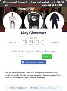May Giveaway sweepstake Doré Martial Arts Academy